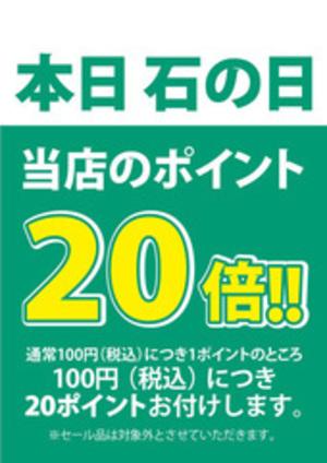 本日 石の日ポイント20倍!!